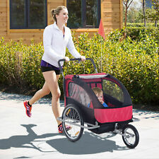 Elite Double Baby Bike Trailer Stroller - Child Bicycle Kids Jogger - Red