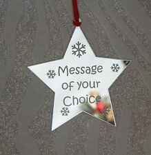Personalised Mirrored Star Christmas Decoration Gift Keepsake  SILVER MIRROR