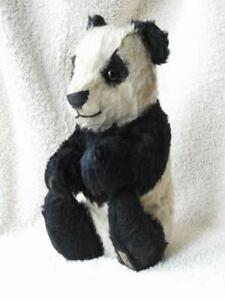 """MERRYTHOUGHT HYGENIC TOYS 1930s LABEL VERY RARE MOHAIR 12"""" SITTING PANDA BEAR"""