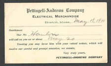 DATED 1908 PC BOSTON MA PETTINGEL ANDREWS CO ELECTRICAL SALESMANS CALLING CARD