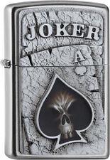 """ZIPPO """"JOKER SKULL"""" POKER CARD GAME ACE SATIN FINISH EMBLEM LIGHTER * NEW in BOX"""
