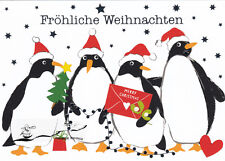 Tarjeta de arte: Carola Pabst-pingüinos/feliz navidad/con Glimmer
