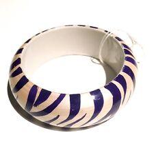 Purple Cream Animal Zebra Print Wood Chunky Cuff Bracelet Bangle Fashion Gift