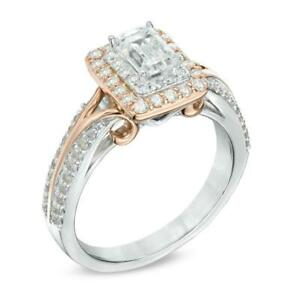 Vera Wang Love Collection 2 Ct White Emerald With Diamond Two-Tone Silver Ring
