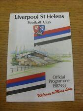 Programma di rugby 12/12/1987: Liverpool ST. Helens V COVENTRY. eventuali difetti Wi