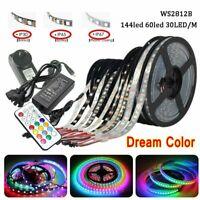 DC 5V WS2812B LED Strip Lights 5050 Dream Color Power Remote Kit 30/60/144 LEDs
