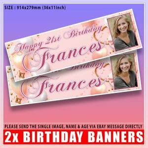 2 PERSONALISED ROSE GOLD PHOTO BIRTHDAY BANNERS - PINK HEARTS, ANY NAME, ANY AGE