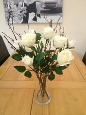 STUNNING ARTIFICIAL FLOWER VASE ARRANGEMENT IVORY ROSES & TWIGS IN FAUX WATER