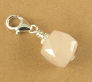 Rose quartz clip-on charm. Light pink stone.  Sterling silver 925. Handmade.