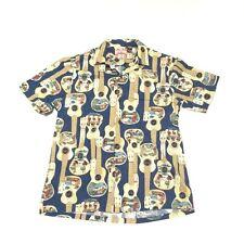 Rjc Hawaiian Shirt Blue Mens Size Large Guitars Ukulele Hula Girls Camp