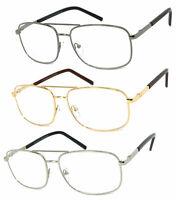 1 or 2 Pairs Metal Frame Large Aviator Full Lens Reading Glasses Spring Hinges