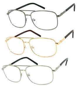 1 or 2 Pairs Metal Frame Large Pilot Full Lens Reading Glasses Spring Hinges