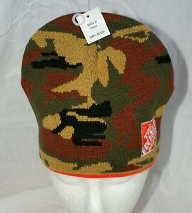Home Depot Winter Reversible Camo Orange Hunting Knit Winter Hat Cap New OSFM
