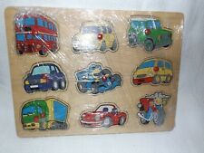 9 VEHICLES WOODEN INSET PUZZLE SET WITH EASY GRIP PEGS