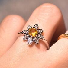 Tiny 925 Silver Women Flower Citrine Zircon Ring Wedding Engagement Jewelry Gift