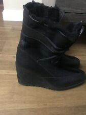 ARCHE •Women 7-37.5 Black Nubuck Leather Wedge  Boots FRANCE $400