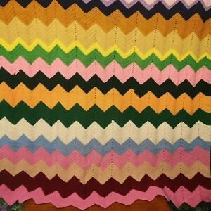 Vintage Pastel Zig Zag Stripe Knitted Crochet Wool Blanket / Throw