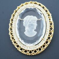 Vintage Gold Tone Openwork Oval Crystal Glass Intaglio Cameo Brooch 2.20 Inch