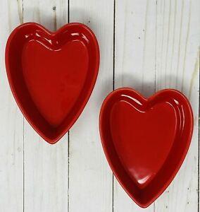 NEW Valentines Set 2 Chantal Heart Bowl Dish Red Bake Serve Stoneware 1.25 Cup