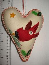 Cardinal Ornament Fabric Heart with Cardinal 76104 198