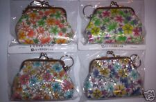 BLING!! TWO Glittery FLORAL Coin Purses with Keyring