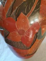 """Large 11"""" Nicaraguan CARVED ETCHED RED CLAY RELIEF VASE BIRD FLOWERS FRUIT"""