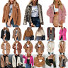 Womens Ladies Teddy Bear Coat Jacket Thick Warm Fleece Cardigan Blazer Outerwear