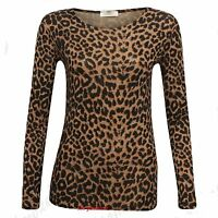 Donna Marrone Con Leopardo Manica Lunga Elasticizzato Viscosa T-shirt Top 8-16