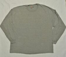 Big Mens Hanes Beefy Crew Neck Long Sleeve 100% Cotton T-Shirt 4L Gray NEW