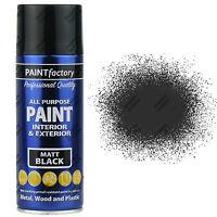 6 x 400ml All Purpose Black Matt Aerosol Spray Paint Household Car Plastic