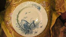 ancienne grande assiette faience decor mesanges insecte