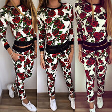 2Pcs Women Tracksuit Hoodie Sweatshirt Pants Set Sports Wear Jogging Casual Suit