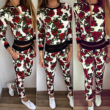 Womens Tracksuit Hoodies Sweatshirt Jogging Jogger Pants 2PCS Set Sports Suit US