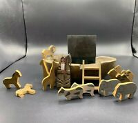 Primitive Wooden Folk Art Noah's Ark - 16 piece set - Hand carved and painted