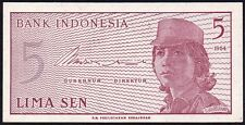 1964 INDONESIA 5 SEN BANKNOTE * ANG 070681 * aUNC * P-91a *
