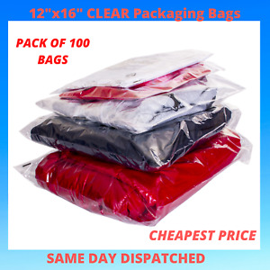 """100 x Large 12x16"""" CLEAR Packaging PEEL & SEAL Cellophane Plastic Apparel Bags"""