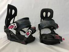 Sims Link Women's S/ M Small Medium Snowboard Bindings Zebra Pink Black Girl