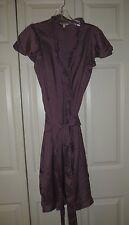 L.L. Bean   Light Purple  100% Silk  Ruffle  Trim  Wrap  Dress  Size  4