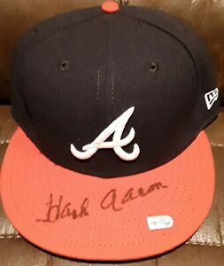 HANK AARON AUTHENTIC 40TH ANNIVERSARY AUTO SIGNED ATLANTA BRAVES HAT MLB HOLO