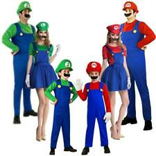 Mens Womens Boys Girls Super Mario and Luigi Cospaly Costume Fancy Dress Outfits
