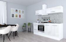Küchenzeile Küche Küchenblock Einbauküche Komplett 210 cm Weiß Glanz respekta