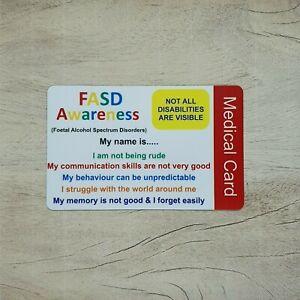 FASD (Foetal Alcohol Spectrum) Awareness Medical Personalised ID Card Disability