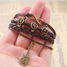 Friendship Retro Charm Antique Copper Leather Bracelet Infinity Guitar Music