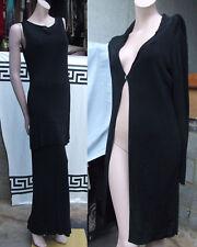 Marks & Spencer Wonderful Black Knit 3 Pc Set Long Skirt Tunic & Cardigan UK 14