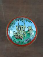 Halcyon Days Enamel Bears On Swing Playground Pill Trinket Box Collectible Rare