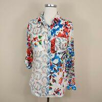 DESIGUAL Women's S Floral Snap Button Up Shirt Long Sleeve Art Vibrant