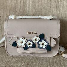 SALE! FURLA MINI CAROL CTERA Cream Floral Small Crossbody Bag Italian Leather