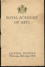 ROYAL ACADEMY ARTS DINNER MENUS 1965 AND 1968