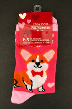 Corgi Valentine's Day Crew Socks Women's Stripes Hearts - New