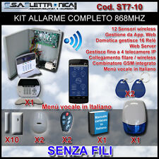 Kit Allarme antifurto ibrido completo di 12 sensori wireless bianchi o marroni